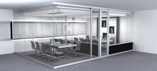 Glass and board partitioning in one seamless system WISPECO